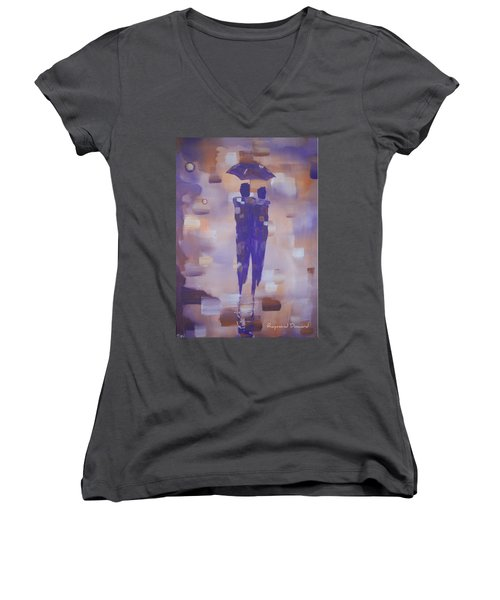 Women's V-Neck T-Shirt (Junior Cut) featuring the painting Abstract Walk In The Rain by Raymond Doward