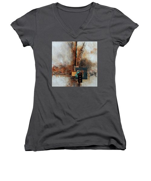 Women's V-Neck T-Shirt (Junior Cut) featuring the painting Abstract With Stud Edge by Joanne Smoley