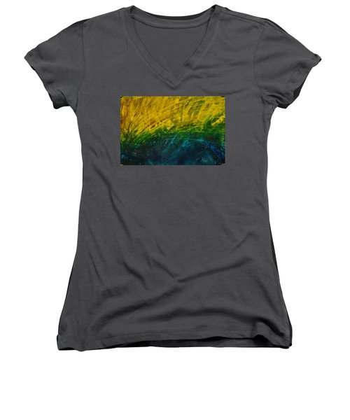 Abstract Yellow, Green With Dark Blue.   Women's V-Neck