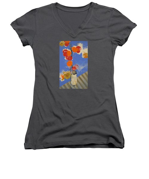 Abstracted Flowers In Ceramic Vase  Women's V-Neck T-Shirt (Junior Cut) by Cliff Spohn