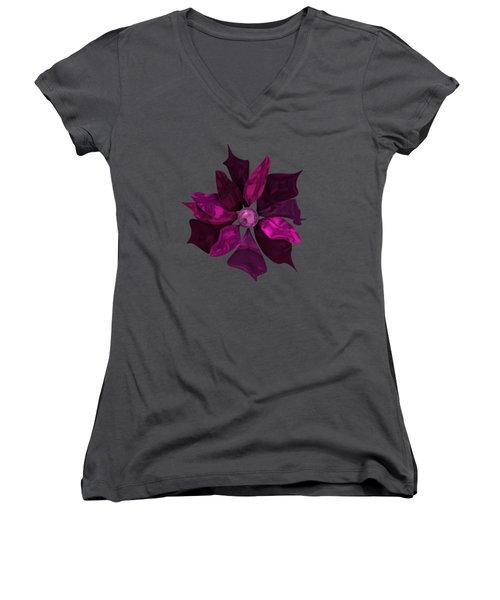Abstrct Violet Flower Women's V-Neck