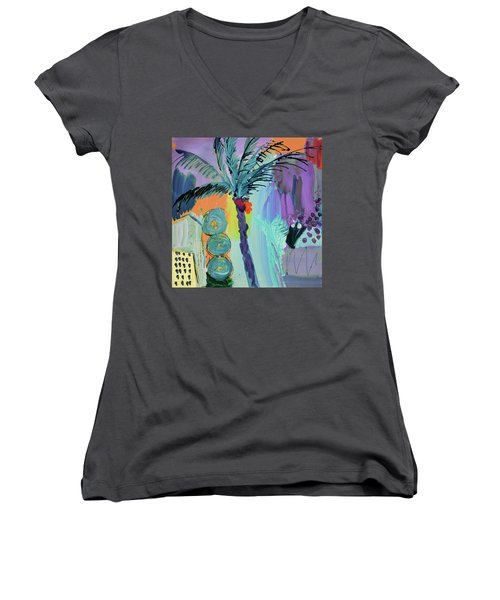 Abtract, Landscape With Palm Tree In California Women's V-Neck T-Shirt (Junior Cut) by Amara Dacer