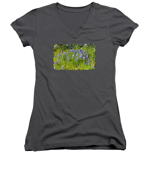 Women's V-Neck T-Shirt (Junior Cut) featuring the photograph Abundance Of Blue Bonnets by Linda Phelps