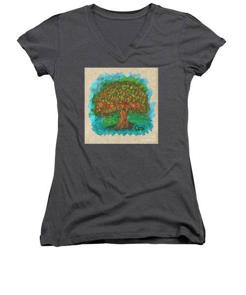 Abundant Tree Women's V-Neck (Athletic Fit)