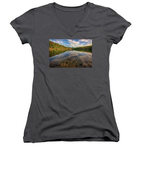 Acadian Reflection Women's V-Neck T-Shirt (Junior Cut) by Rick Berk