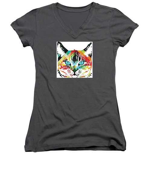 Acid Cat Dream By Robert R Women's V-Neck (Athletic Fit)