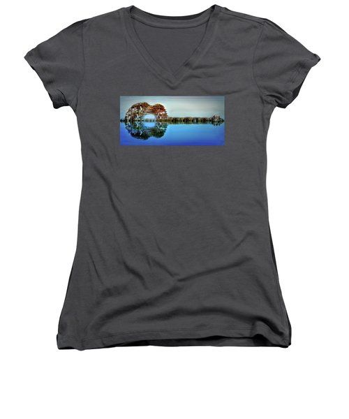 Women's V-Neck T-Shirt (Junior Cut) featuring the digital art Acoustic Guitar At Gordon's Pond by Bill Swartwout