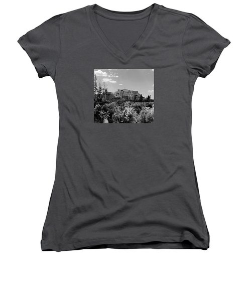 Acropolis Black And White Women's V-Neck T-Shirt (Junior Cut) by Robert Moss