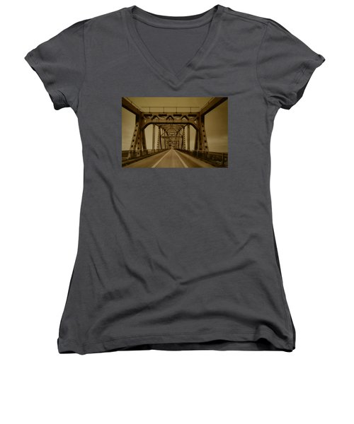 Across The Old Bridge Women's V-Neck (Athletic Fit)