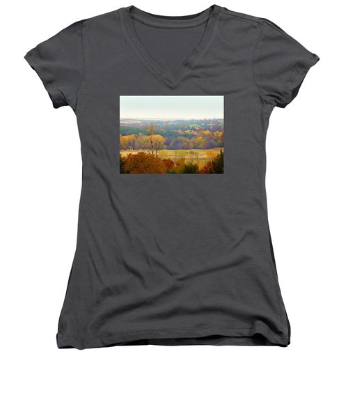 Women's V-Neck featuring the digital art Across The River In Autumn by Shelli Fitzpatrick