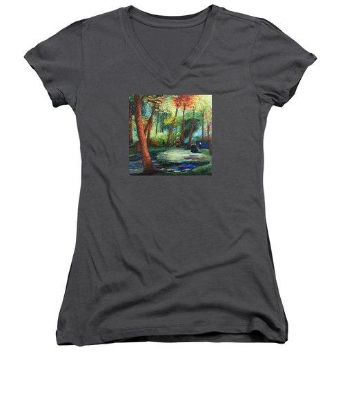 Acrylic Msc 217 Women's V-Neck T-Shirt (Junior Cut) by Mario Sergio Calzi