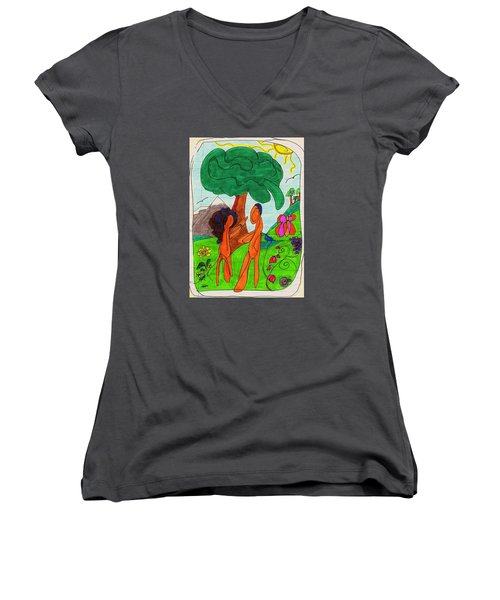 Adam And Eve Women's V-Neck T-Shirt (Junior Cut) by Martin Cline