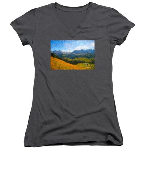 Adelboden Countryside Women's V-Neck T-Shirt (Junior Cut)