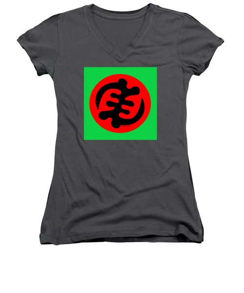 Adinkra Symbol Gye Nyame Except God Only God Women's V-Neck