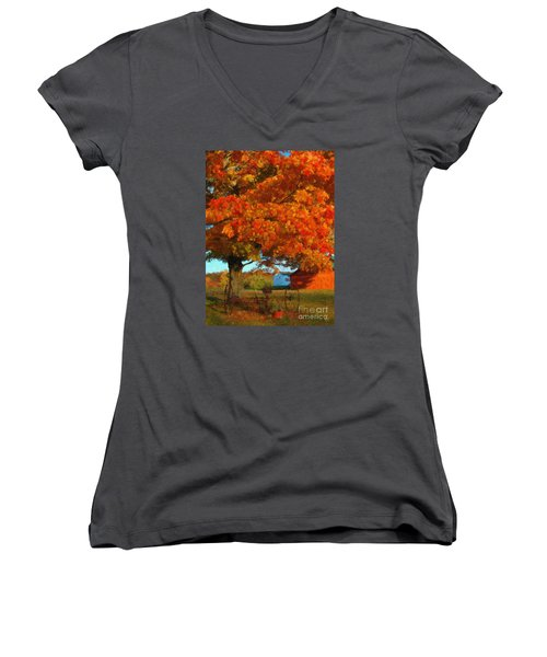Women's V-Neck T-Shirt (Junior Cut) featuring the painting Adirondack Autumn Color Brush by Diane E Berry