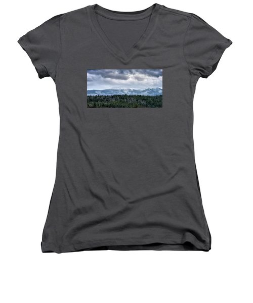 Women's V-Neck T-Shirt (Junior Cut) featuring the photograph Adirondack High Peaks During Winter - New York by Brendan Reals