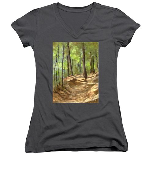 Women's V-Neck T-Shirt (Junior Cut) featuring the painting Adirondack Hiking Trails by Judy Filarecki