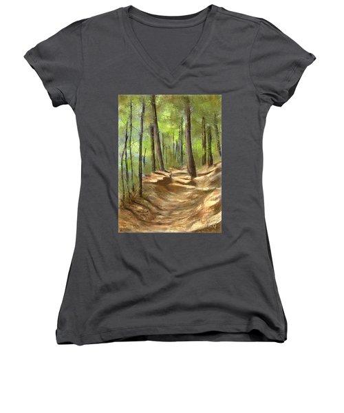 Adirondack Hiking Trails Women's V-Neck T-Shirt (Junior Cut) by Judy Filarecki