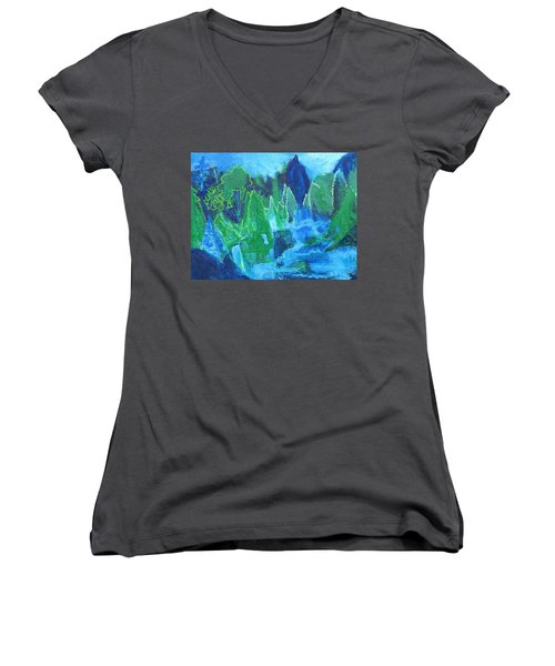 Women's V-Neck T-Shirt (Junior Cut) featuring the painting Adirondack Spring by Betty Pieper