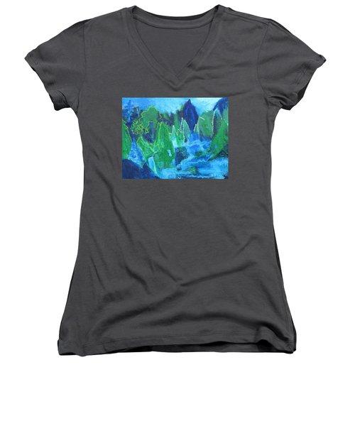 Adirondack Spring Women's V-Neck T-Shirt (Junior Cut) by Betty Pieper