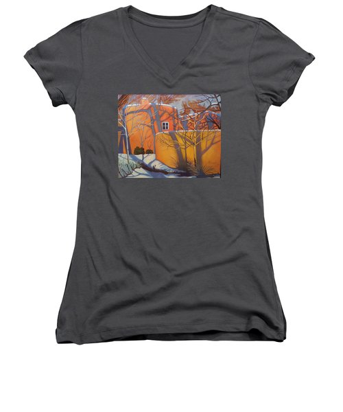 Adobe, Shadows And A Blue Window Women's V-Neck T-Shirt (Junior Cut) by Art West