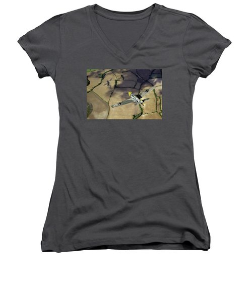 Women's V-Neck T-Shirt featuring the photograph Adolf Galland Attacking Spitfire by Gary Eason