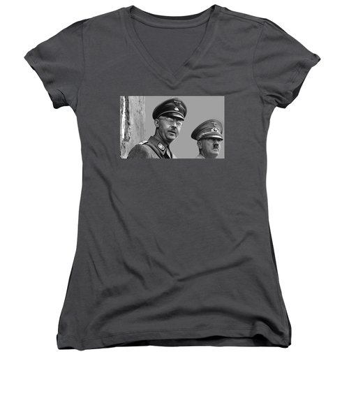Adolf Hitler And Gestapo Head Heinrich Himmler Watching Parade Of Nazi Stormtroopers 1940-2015 Women's V-Neck