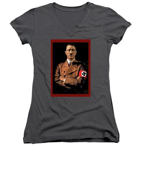 Adolf Hitler Painting Circa  1940 Color Added 2016 Women's V-Neck
