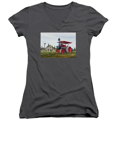 Women's V-Neck T-Shirt (Junior Cut) featuring the painting Advance Rumely Steam Traction Engine by James Williamson