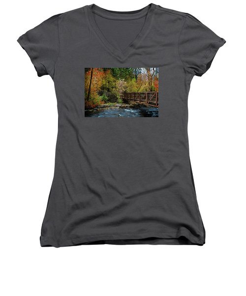 Women's V-Neck featuring the photograph Adventure Bridge by Scott Read