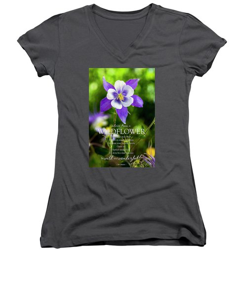 Advice From A Wildflower Columbine Women's V-Neck T-Shirt (Junior Cut) by Teri Virbickis