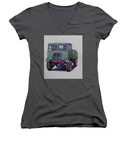 Women's V-Neck T-Shirt (Junior Cut) featuring the painting Aec Matador Brs. by Mike Jeffries