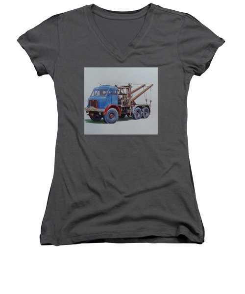 Women's V-Neck T-Shirt (Junior Cut) featuring the painting Aec Militant Wrecker. by Mike Jeffries