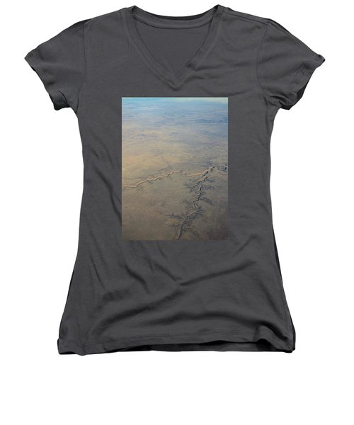 Women's V-Neck T-Shirt (Junior Cut) featuring the photograph Aerial 2 by Steven Richman