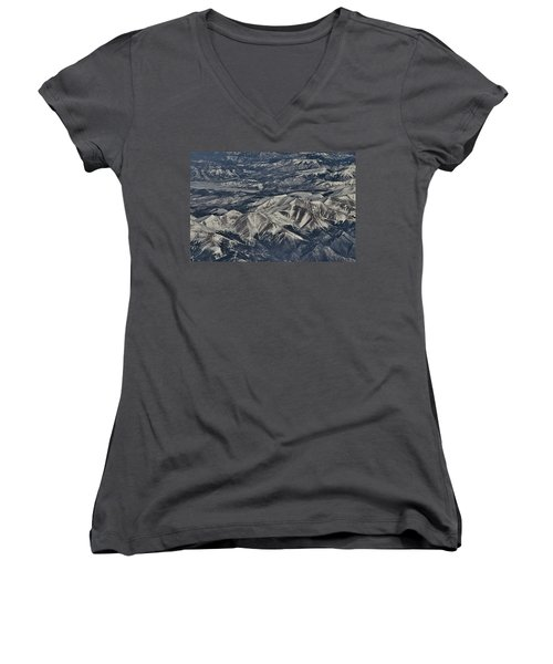 Women's V-Neck T-Shirt (Junior Cut) featuring the photograph Aerial 4 by Steven Richman