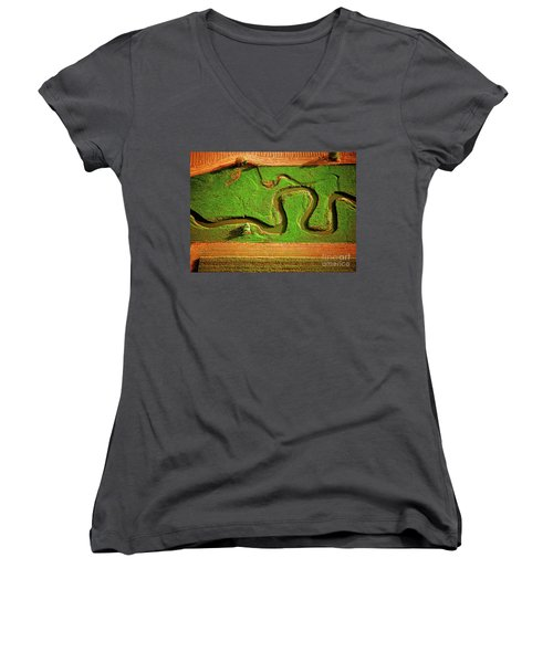 aerial, farm, stream, northern, Illinois, farms, meandering  Women's V-Neck