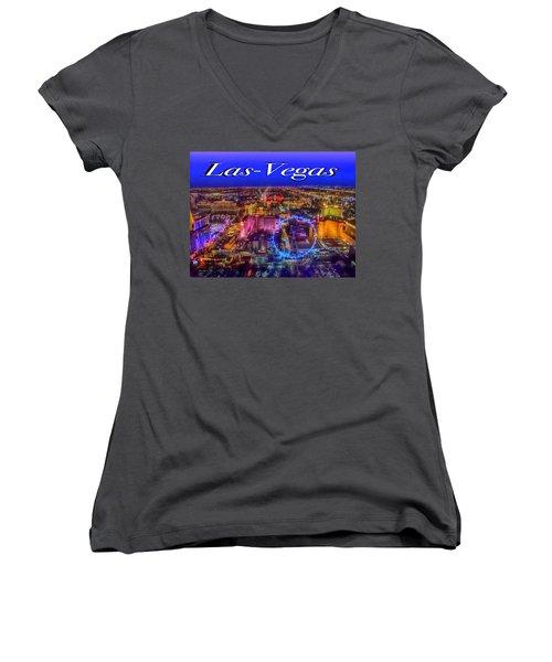 Aerial Las- Vegas Evening Women's V-Neck T-Shirt