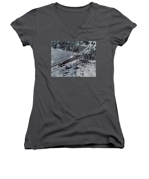 Aerial Train Wreck Women's V-Neck (Athletic Fit)