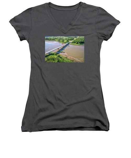 aerial view of Niobrara River in Nebraska Sand Hills Women's V-Neck