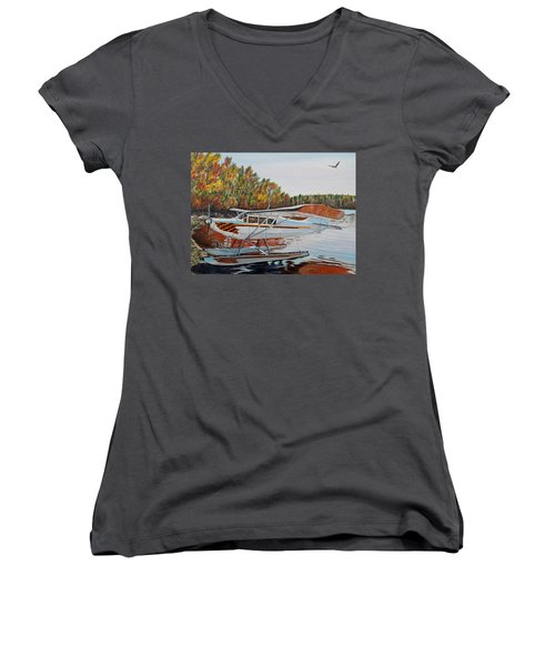 Women's V-Neck T-Shirt (Junior Cut) featuring the painting Aeronca Super Chief 0290 by Marilyn  McNish