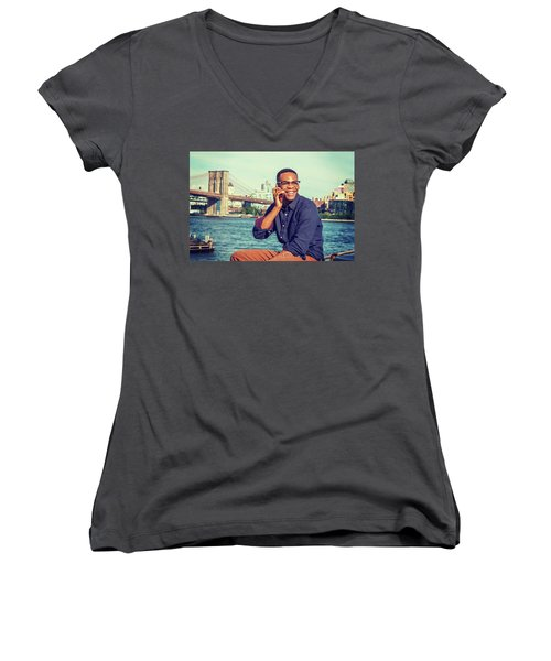 African American Man Traveling In New York Women's V-Neck
