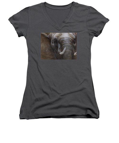 African Elephant Women's V-Neck T-Shirt