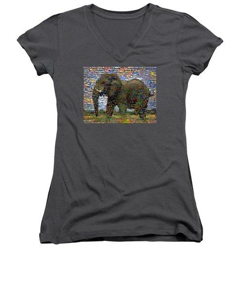 Women's V-Neck T-Shirt (Junior Cut) featuring the mixed media African Elephant Wild Animal Mosaic by Paul Van Scott