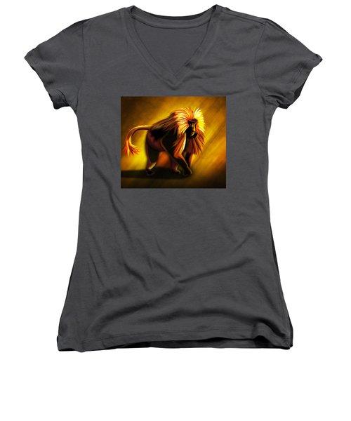 African Gelada Monkey Women's V-Neck T-Shirt (Junior Cut) by John Wills