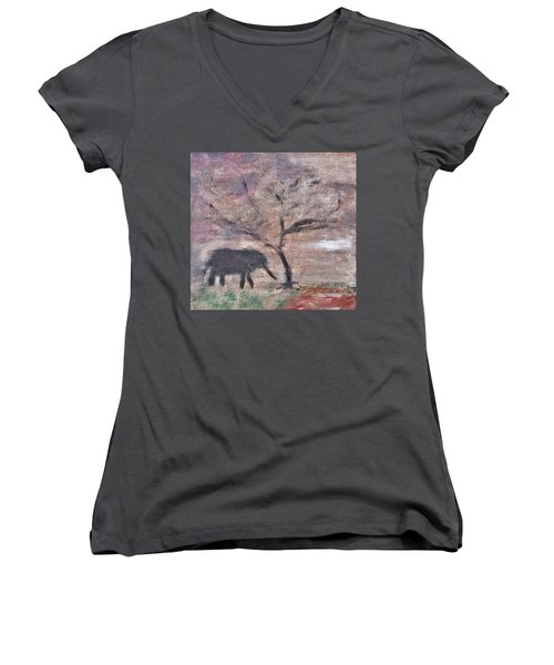 Women's V-Neck T-Shirt (Junior Cut) featuring the painting African Landscape Baby Elephant And Banya Tree At Watering Hole With Mountain And Sunset Grasses Shr by MendyZ
