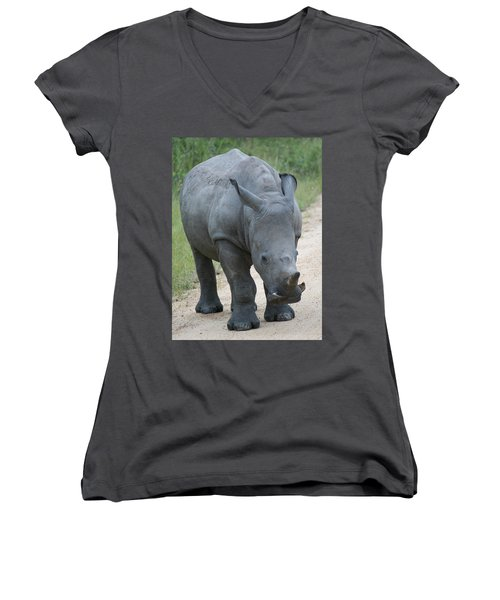 African Rhino Women's V-Neck (Athletic Fit)