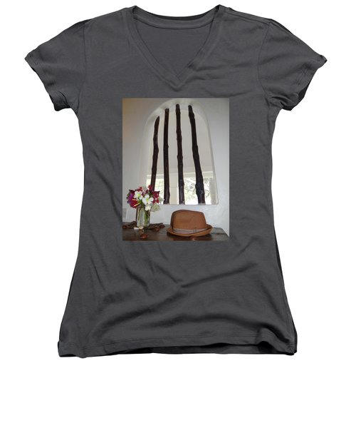 African Table With Flowers And Hat Women's V-Neck (Athletic Fit)