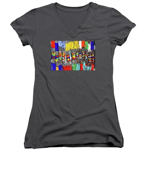 African Tribal Necklaces Women's V-Neck (Athletic Fit)
