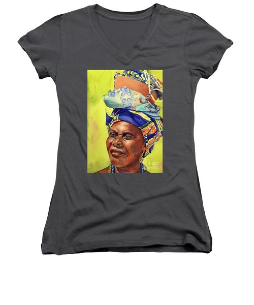African Woman Women's V-Neck T-Shirt