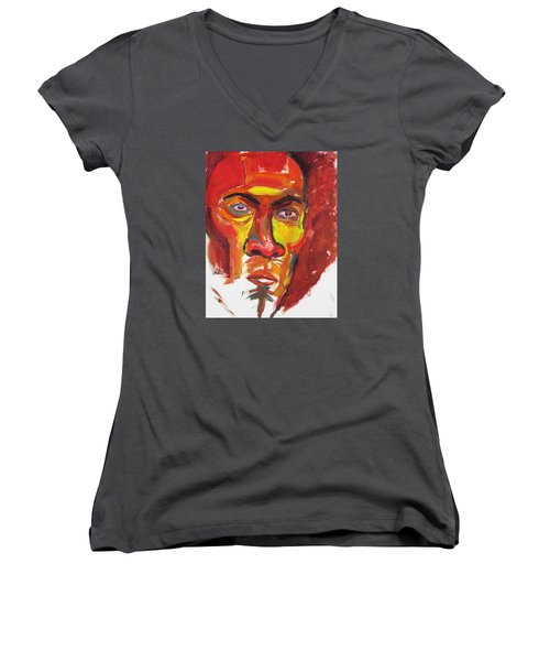 Women's V-Neck T-Shirt (Junior Cut) featuring the painting Afro by Shungaboy X